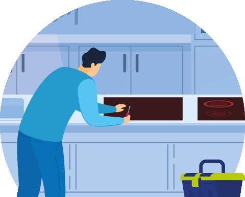 Engineer servicing kitchen equipment