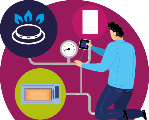 Engineer gas testing kitchen equipment