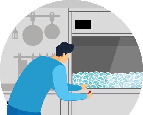 Engineer cleaning an ice machine