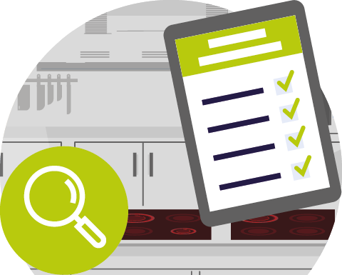 Auditing and servicing commercial kitchen equipment